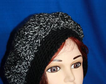 Heather black and white crochet beret