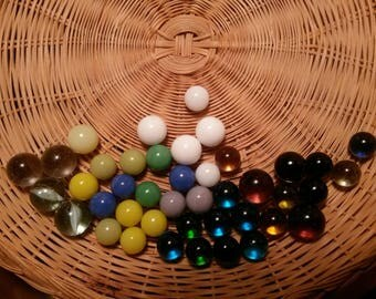 set of 40+ Antique hand blown glass marbles. Milks, lemons, clear & opaque