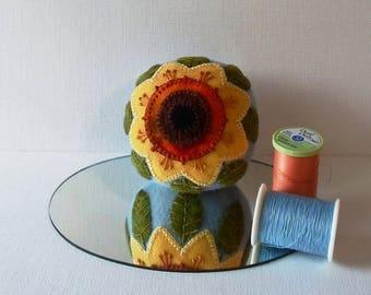 Handmade Pincushion Felted Wool Golden Sunflower on a Blue Pincushion