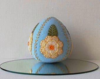 Hand Made Easter Felt Blue & Yellow Egg Ornament