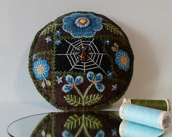 Handmade Beaded Spider in a Blue Summer Garden Felted Wool Embroidered Crazy Patch Pincushion