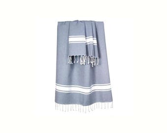 Fouta fringed 100x200cm color Jean (blue)