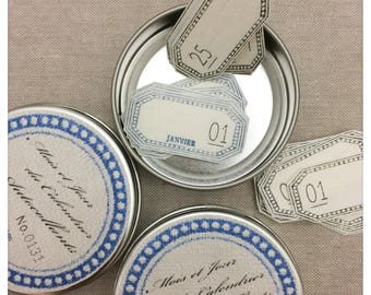 Lamp Handmade Month and Day Calendar Stickers in Beautifully Decorated Tin
