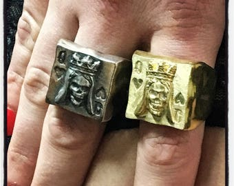Sterling Silver Poker Ring Skull Queen of Hearts Ring Texas Holdem Skull Ring Poker Skull Ring Queen of Hearts Ring Skull Queen of Hearts