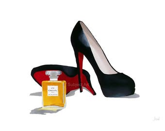 Art Print of CHRISTIAN LOUBOUTIN Black Shoes, Chanel No.5, Fashion Gifts, Wall Art, Home Decor