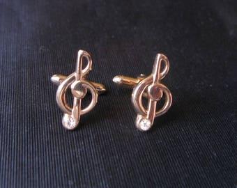 Cufflinks Treble Clef, Swank Cufflinks Musician Vintage Musical Figural Music Note Rhinestone