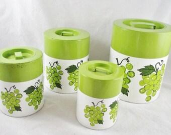 Canister Set Grape Motif Green White Nesting Tins Lids Storage 4 pc Japan Vintage