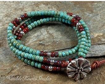ON SALE Leather Wrap Bracelet/Bead Wrap Bracelet/Beaded Bracelet/Boho Wrap/Double Wrap Bracelet/Gift for Her/NimbleKnotsStudio/Valentines Da
