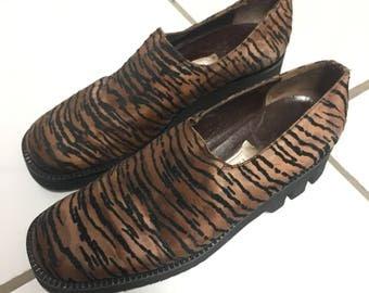 Vtg foam platform Slip on wedge shoes copper zebra velvet sz EU 37.5 /uk 4.5 us 7