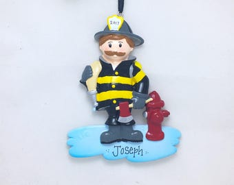 Firefighter with Mustache Personalized Ornament / Fireman Ornament / Christmas Ornament / Child Gift / Toddler Gift