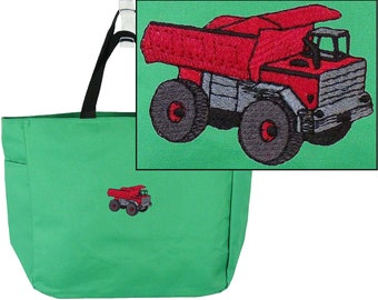 Dump Truck Essential Tote Bag Construction Monogram Custom Embroidered + Free Name