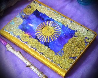 Sun Journal / Sun Face Diary / A5 Moleskin Planner / Celestial Astrology Grimore / Gypsy Book of Shadows / Tarot Card The Sun Blank Notebook