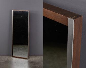 Paul McCobb 18x48 Wall Mounted Mirror Walnut & Aluminum Mid Century
