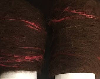 Chocolate Cherry Alpaca Silk Batts