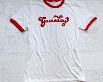Gameday Ringer Tee - red
