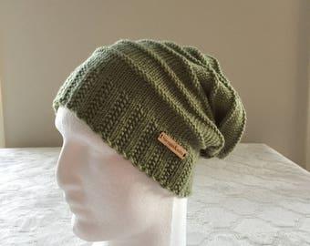 100% MERINO WOOL, Light green women slouchy handmade knitted beanie, light green knit beanie, women knit hat, slouchy knitted beanie.