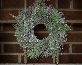 SALE Christmas Window Wreath, Berry Holiday Wreath, Christmas Twig Wreath, Door Wreath, Green Christmas Wreath,