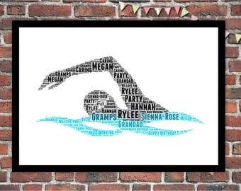 Word art etsy personalised word art gift framed gift swimmer diving swimming gift for him pronofoot35fo Choice Image