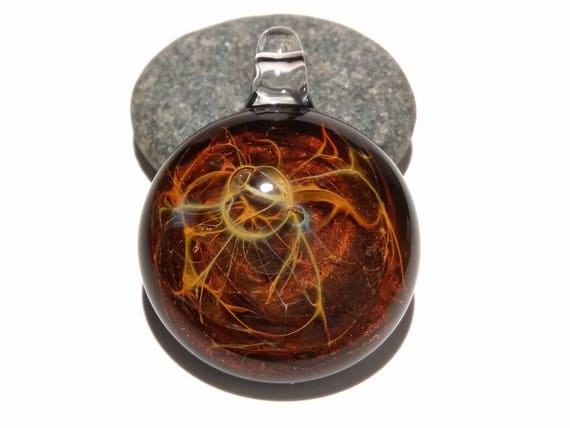 Sacred Power Pendant - Blown Glass Jewelry - Universe - Flameworked Focal Bead - Artist Direct - Vibrant and glossy smooth!