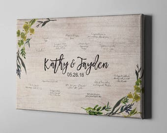 SALE 50% Off Canvas Guest Book, Greenery Wedding Guest Book, Rustic Leaves Guest Book, Signature Tree GuestBook Alternative - CGB124