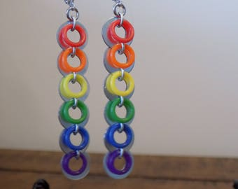 Lever Back Linear Rainbow Washer Earrings