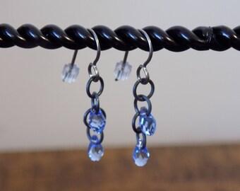 Natural Niobium Fishhook Blue Swarovski Crystal Teardrop Earrings