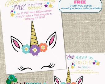Unicorn face invite | Etsy