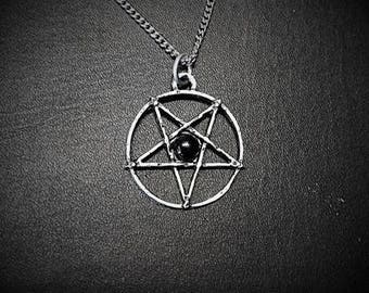 Handmade inverted pentagram, gothic pentagram with Onyx, satanic jewelry