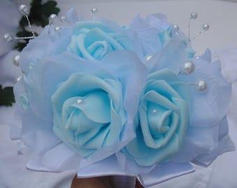 Vintage Blue Bouquet|Rose and Pearl Bouquet|Vintage Bridal Bouquet|Bridesmaid Bouquet|Flower Girl Bouquet|Vintage Wedding Bouquet|Blue Roses