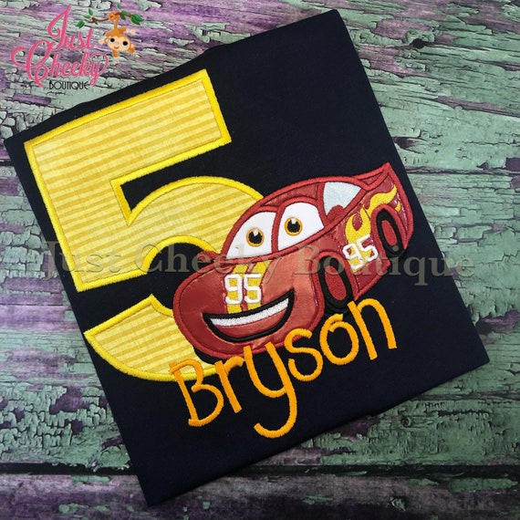 Cars Lightning McQueen Cutie Inspired Embroidered Shirt - Cars Birthday Shirt -Disney Cars-Lightning McQueen Birthday-Race Car