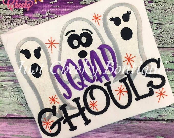 Squad Ghouls Embroidered Halloween Shirt - Squad Goals Halloween Shirt - Girls Halloween Shirt - Ghost Shirt