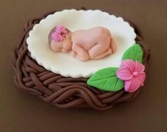 "Fondant baby inside a 5"" nest cake topper, baby shower, birthday"
