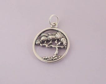 1 Sterling Silver Lone Cypress Tree Charm / Pendant, Tree of Life