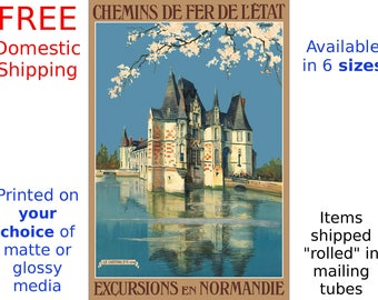 Excursions in Normandie - Vintage French State Railways Travel Poster/Print (293220605)