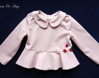 Pink girl blouse peplum - 4t