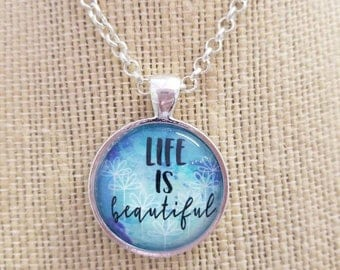 Life is Beautiful...Painted Quote Necklaces, Inspirational Charms Jewelry , Choose Joy, Yoga Inspired, Be Positive