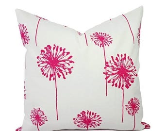 15% OFF SALE Two Dandelion Pillow Covers - Hot Pink and White Pillows - Pink Throw Pillow - Dandelion Throw Pillow - Hot Pink Pillow - Brigh