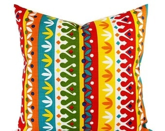 15% OFF SALE Two OUTDOOR Pillow Covers   Red Pillow Cover   Yellow Throw  Pillow