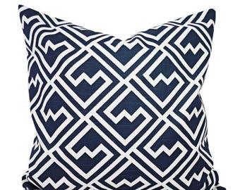 15% OFF SALE Navy Blue Pillow Shams - Two Navy and White Throw Pillow Covers - Navy Accent Pillows - Decorative Pillow - 12x16 12x18 14x14 1