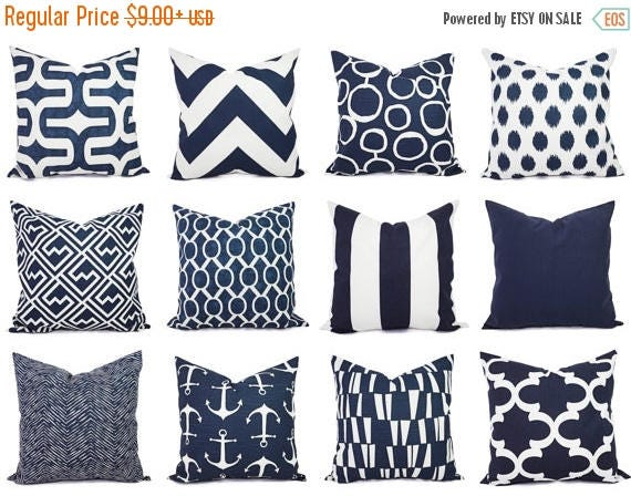15% OFF SALE Navy Pillow Covers One Navy And White Throw