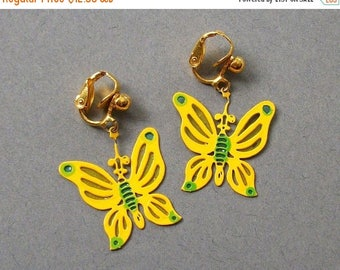 ON SALE Vintage Earrings Yellow and Green Butterfly Vintage Clip On Earrings Vintage Jewelry Earrings Set