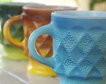 3 Kimberly Coffee Mugs  Mismatched Fire King Blue, Gold Green