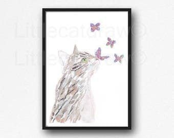 Cat Print Tabby Cat With Butterflies Watercolor Painting Print Wall Art Wall Decor Watercolor Print Home Decor Butterfly Print Unframed