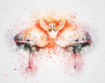 watercolor flamingo print, water color birds, watercolor animals, flamingo art print, flamingo wall art, flamingo decor, bird wall art