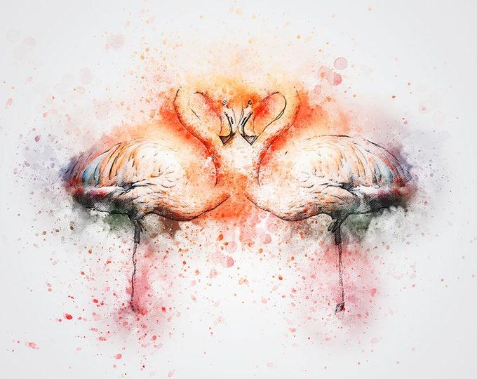watercolor flamingo print