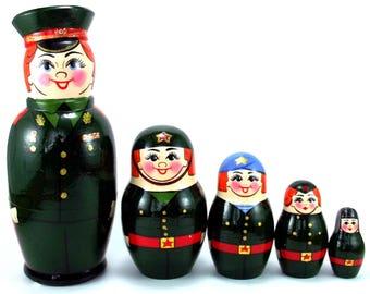 Military Nesting Dolls 5 pcs Russian Matryoshka doll Traditional babushka doll Russian stacking dolls for kids Wooden russian doll