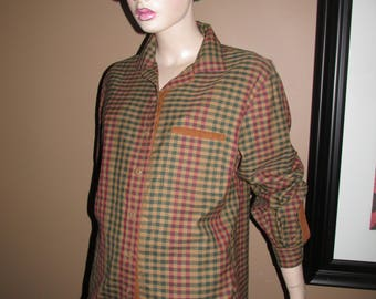 Vintage brown check shirt.Wool shirt made in France.