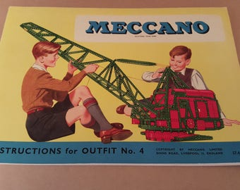 Vintage meccano booklet outfit no. 4 illustrations, vintage toy, construction toy