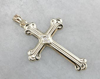 Vintage Diamond Gold Cross Pendant QRJHZ0-P