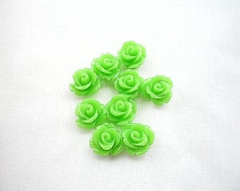 Eight flower cabochons resin 10 x 6 dark green